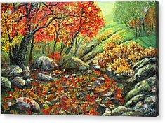 Crimson Lights Up The Forest Acrylic Print