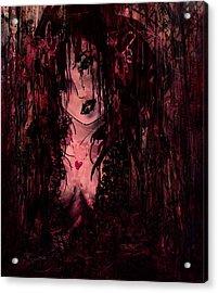 Crimson Torn Lace Acrylic Print by Rachel Christine Nowicki