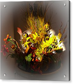 Crock Pot Full Of Flowers Acrylic Print by David Patterson