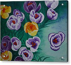 Acrylic Print featuring the painting Crocus by Paul Amaranto