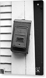 Crooked Old Fashioned Metal Green Mailbox French Quarter New Orleans Black And White Acrylic Print by Shawn O'Brien