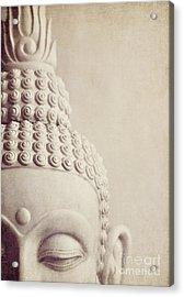 Cropped Stone Buddha Head Statue Acrylic Print