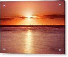 Crosby Beach In Sunset Acrylic Print by Ian Moran