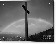 Cross And Rainbow Acrylic Print by Gaspar Avila