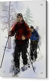Cross Country Skiers Acrylic Print by Elaine Plesser