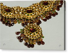 Cross Section Of A Purple And Yellow Gold Beautiful Necklace Acrylic Print by Ashish Agarwal