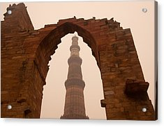 Cross Section Of The Qutub Minar Framed Within An Archway In Foggy Weather Acrylic Print