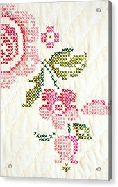 Cross Stitch Flower 1 Acrylic Print by Marilyn Hunt