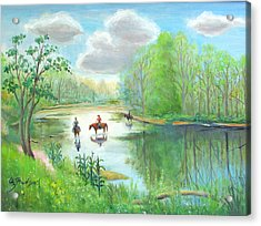 Acrylic Print featuring the painting Crossing The Neshaminy by Oz Freedgood