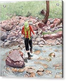Crossing Virgin Stream Acrylic Print by Inger Hutton