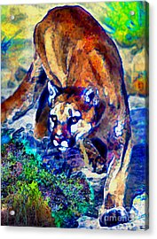 Acrylic Print featuring the painting Crouching Cougar by Elinor Mavor