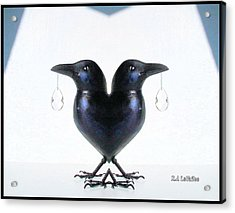Crow With Crystal 6 Acrylic Print
