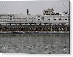 Crowd Of Devotees Inside The Golden Temple Acrylic Print by Ashish Agarwal