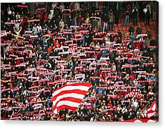 Crowd Of Fans Raise Scarves In Support Of Red Star, One Of Sebia's Premier Soccer Teams Acrylic Print by Greg Elms