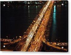 Crowded Bridge Acrylic Print by SJ. Kim