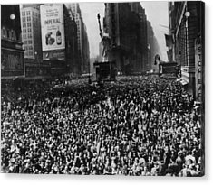 Crowds In Times Square, New York Acrylic Print by Everett