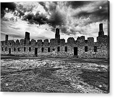 Crown Point Barracks Black And White Acrylic Print by Joshua House