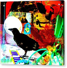 Acrylic Print featuring the mixed media Crow's Piano by YoMamaBird Rhonda