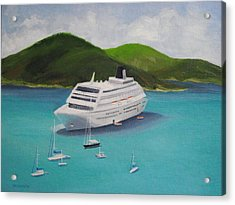 Cruise Ship Off Charlotte Amalie Acrylic Print by Robert Rohrich
