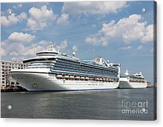 Cruise Ships At Cruiseport Boston Acrylic Print by Clarence Holmes