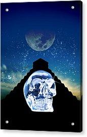 Crystal Skull And Maya Pyramid, Artwork Acrylic Print by Victor Habbick Visions