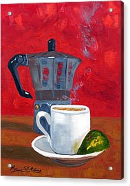 Cuban Coffee And Lime Red 62012 Acrylic Print by Maria Soto Robbins