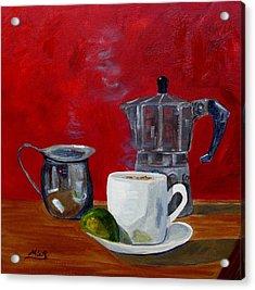 Cuban Coffee Lime And Creamer 2 Acrylic Print by Maria Soto Robbins