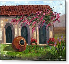 Cuban Courtyard With Tinajon And Bougainvillea Acrylic Print by Maria Soto Robbins