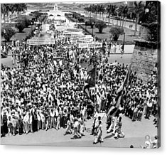 Cuban Political Demonstration Supported Acrylic Print by Everett
