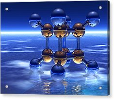 Cubane Molecule Acrylic Print by Laguna Design