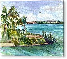 Acrylic Print featuring the painting Cudjoe Key Bridge by Clara Sue Beym