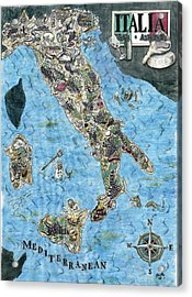 Culinary Map Of Italy Acrylic Print by Big Tasty