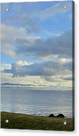 Cumulus Clouds Sea And Mountains Reykjavik Iceland Acrylic Print by Marianne Campolongo