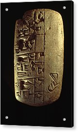 Cuneiform Writing Describes Commodities Acrylic Print by Lynn Abercrombie