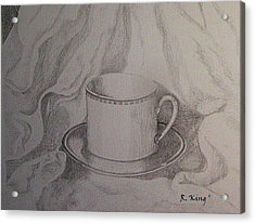 Acrylic Print featuring the drawing Cup And Saucer On Material by Roena King
