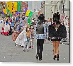 Curious Children On Mardi Gras In New Orleans Acrylic Print