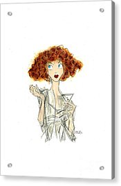 Curly Haired Girl Acrylic Print by Turtle Caps