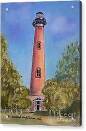 Acrylic Print featuring the pastel Currituck Lighthouse Nc by Julie Brugh Riffey