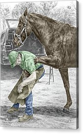 Acrylic Print featuring the drawing Custom Made - Farrier And Horse Print Color Tinted by Kelli Swan