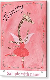 Custom Name Child's Giraffe Ballerina Acrylic Print by Kristi L Randall