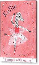 Custom Name Child's Zebra Ballerina Acrylic Print by Kristi L Randall