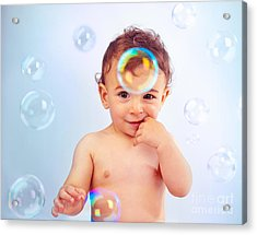 Cute Baby Boy Playing With Soap Bubbles Acrylic Print by Anna Om
