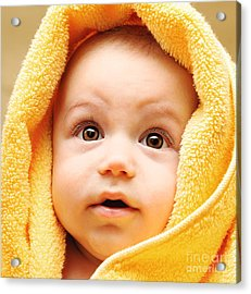 Cute Baby Face Acrylic Print by Anna Om