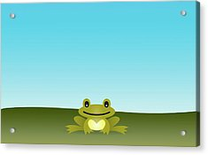 Cute Frog Sitting On The Grass Acrylic Print by © Roctopus