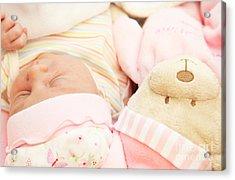 Cute Little Baby Sleeping Acrylic Print by Anna Om