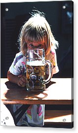 Acrylic Print featuring the photograph Cute Little Girl At Beer Garden Munich by Tom Wurl