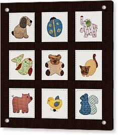 Cute Nursery Animals Baby Quilt Acrylic Print by Tracie Kaska