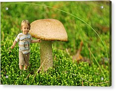 Cute Tiny Boy Playing In The Forest Acrylic Print by Jaroslaw Grudzinski