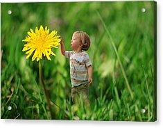 Cute Tiny Boy Playing In The Grass Acrylic Print by Jaroslaw Grudzinski