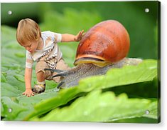 Cute Tiny Boy Playing With A Snail Acrylic Print by Jaroslaw Grudzinski